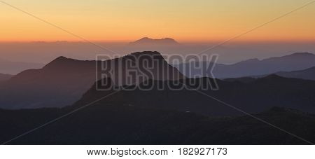 Sunrise in the hills of Nepal. View from Ghale Gaun Annapurna Conservation Area.