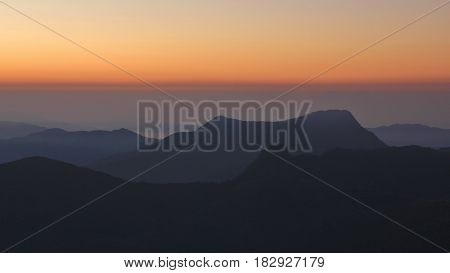 Sunrise view from Ghale Gaun Annapurna Conservation Area Nepal.