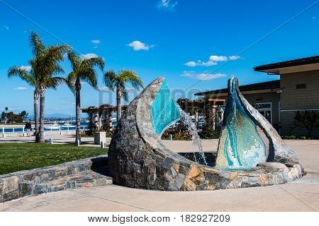 CORONADO, CALIFORNIA - FEBRUARY 23, 2017:  The 2005 sculpture/fountain