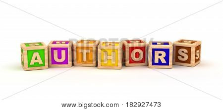 Authors Text Cube (isolated on white) 3D Rendering