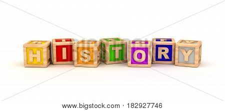 History Text Cube (isolated on white) 3D Rendering