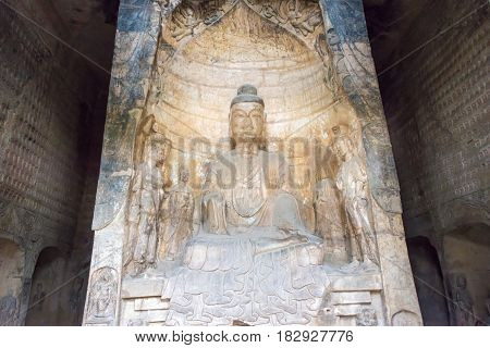 Henan, China - Oct 03 2015: Budda Statues At Gongxian Grottoes. A Famous Historic Site In Gongyi, He