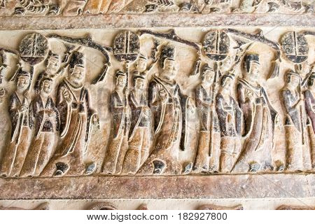 Henan, China - Oct 03 2015: Relief At Gongxian Grottoes. A Famous Historic Site In Gongyi, Henan, Ch