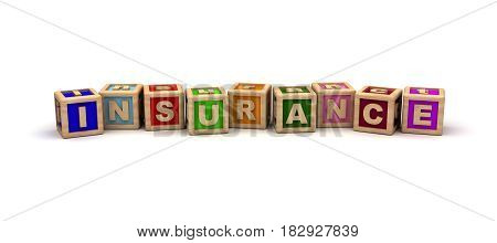 Insurance Text Cube (isolated on white) 3D Rendering