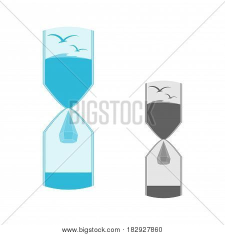 Logo of nature in the hourglass. The logo is a hourglass. Logo drop of water. Saving of water. Water droplet icon . The preservation of water resources.