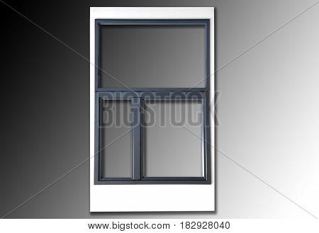 Wooden one door window in combination with aluminum