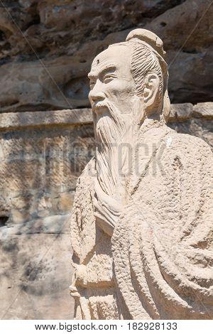 Yunnan, China - Mar 21 2015: Xu Xiake Statues At Shibaoshan Mountain(shibaoshan Shiku). Xu Xiake(158