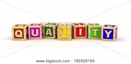 Quality Text Cube (isolated on white) 3D Rendering