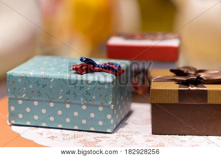 gift box with blue texture and Red bow