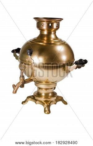 Beautiful copper samovar on a white background.