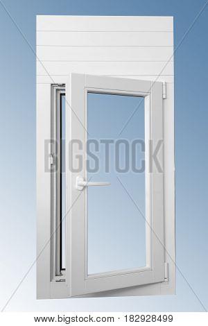 Wooden panel one door window in combination with aluminum view on inside