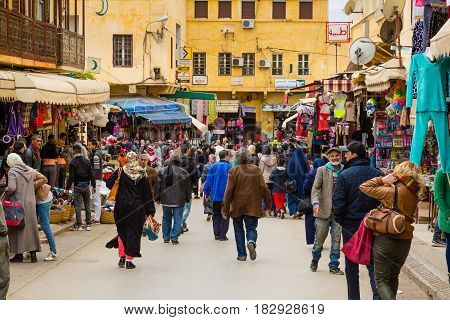 Meknes, Morocco - March 04, 2017: Busy Business Street