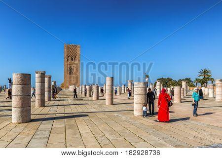 Rabat, Morocco - March 05, 2017: Hassan Tower In Rabat