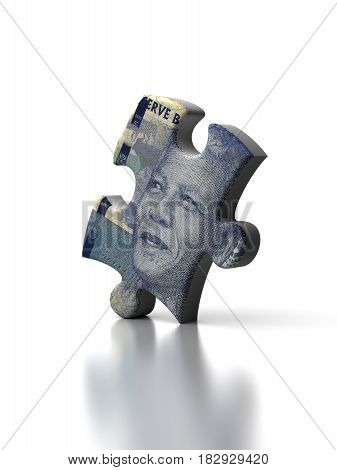 Single South African Rand Puzzle (computer generated image) 3D Rendering