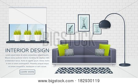 Banner with interior of the living room and place for text. Design of a cozy room with sofa electric lamp window and decor accessories. Vector illustration.