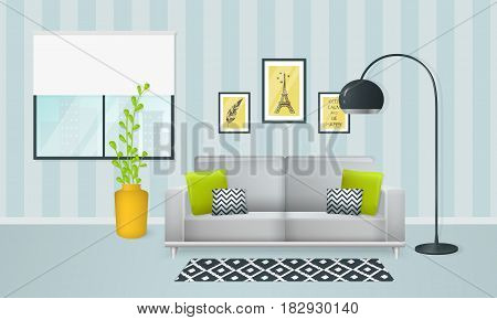 Interior of the living room. Design of a cozy room with sofa lamp window and decor accessories. Vector illustration.