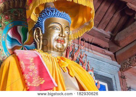 Gansu, China - Apr 08 2015: Budda Statues At Haizang Temple. A Famous Historic Site In Wuwei, Gansu,