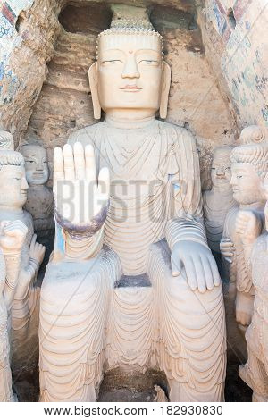 Gansu, China - Apr 09 2015: Budda Statues At Tiantishan Grottoes. A Famous Historic Site In Wuwei, G