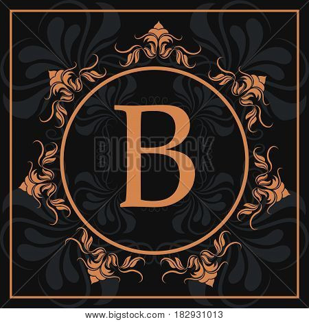 florishes gold letter B calligraphic heraldic dark background vector illustration