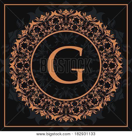 florishes gold letter G calligraphic heraldic dark background vector illustration
