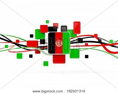 Flag Of Afghanistan, Mosaic Background With Lines