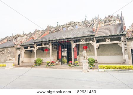 Gunagdong, China - Nov 29 2015: Chen Clan Ancestral Hall. A Famous Historic Site In Guangzhou, Guang