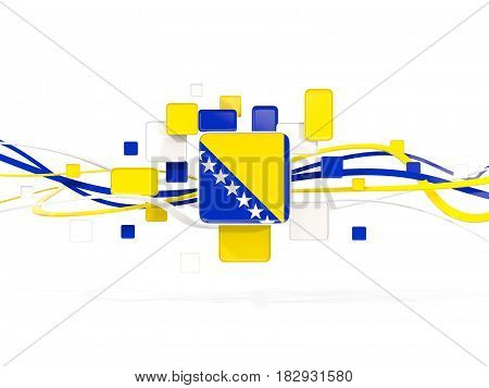 Flag Of Bosnia And Herzegovina, Mosaic Background With Lines