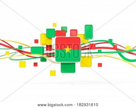 Flag Of Burkina Faso, Mosaic Background With Lines