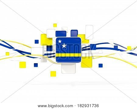 Flag Of Curacao, Mosaic Background With Lines