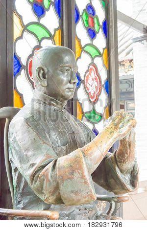 Gunagdong, China - Nov 28 2015: Wong Fei-hung Statue At Wong Fei-hung Memorial Museum. A Famous Hist