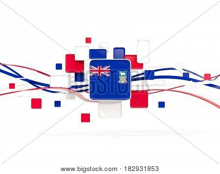 Flag Of Falkland Islands, Mosaic Background With Lines
