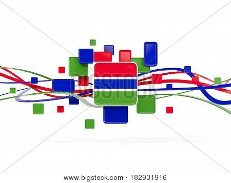 Flag Of Gambia, Mosaic Background With Lines