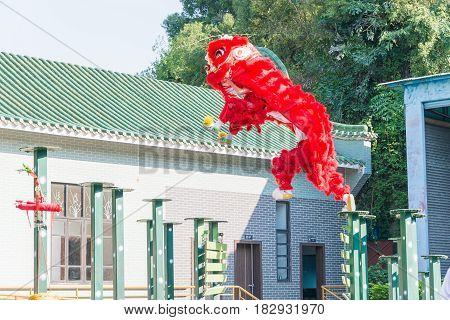 Gunagdong, China - Nov 27 2015: Lion Dance At Wong Fei Hung Lion Dance Martial Arts Museum. A Famous