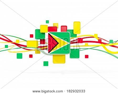 Flag Of Guyana, Mosaic Background With Lines