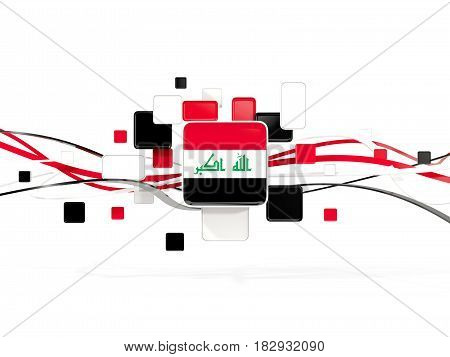 Flag Of Iraq, Mosaic Background With Lines