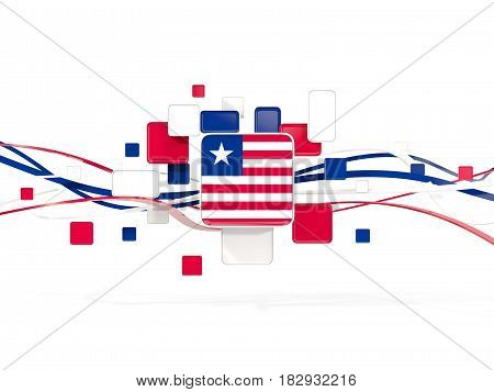 Flag Of Liberia, Mosaic Background With Lines
