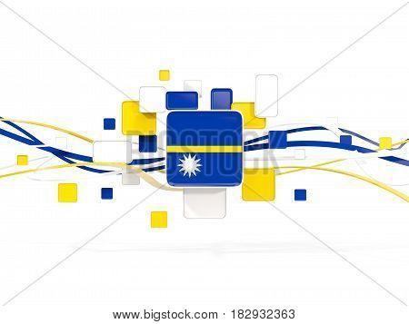 Flag Of Nauru, Mosaic Background With Lines