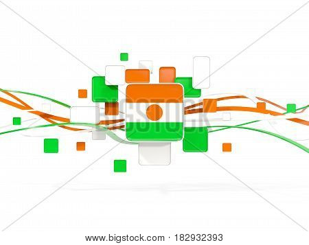 Flag Of Niger, Mosaic Background With Lines