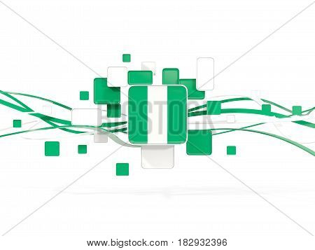 Flag Of Nigeria, Mosaic Background With Lines