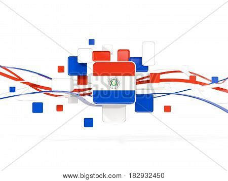 Flag Of Paraguay, Mosaic Background With Lines