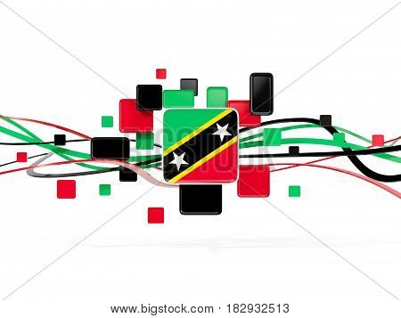 Flag Of Saint Kitts And Nevis, Mosaic Background With Lines
