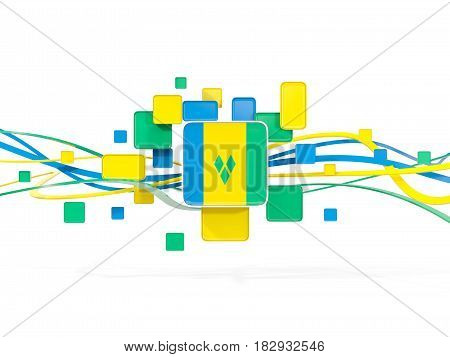 Flag Of Saint Vincent And The Grenadines, Mosaic Background With Lines