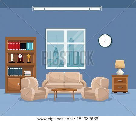 living room sofa bookcase table lamp window clock vector illustration eps 10