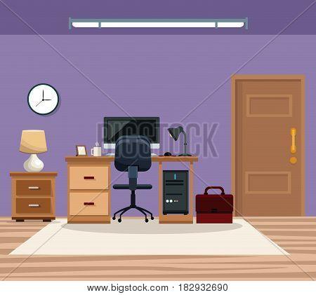 room work desk chair computer table lamp clock portfolio vector illustration