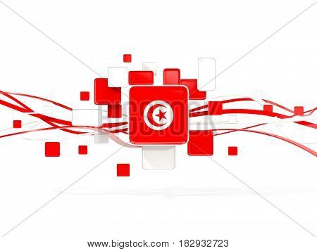 Flag Of Tunisia, Mosaic Background With Lines