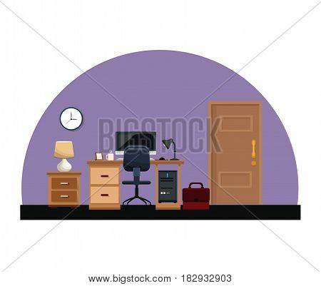 office room work desk chair lamp clock portfolio door interior vector illustration