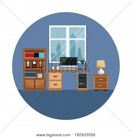 office interior computer desk frame photo coffee cup bookcase lamp vector illustration