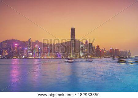 The Hong Kong Harbour At Sunset