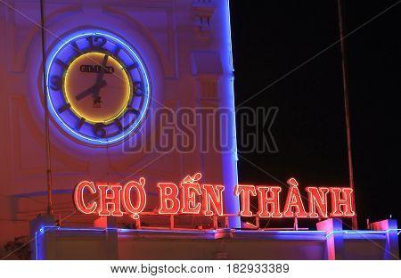 HO CHI MINH CITY VIETNAM - NOVEMBER 25, 2016: Ben Thanh night market.