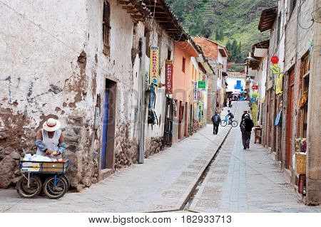 Pisac, Peru April 2016 Street scene in Pisac a little town in the Urubamba Valley near Cusco, Peru